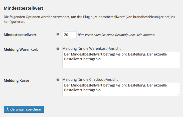 "Screenshot: Bearbeiten der Einstellungen des Plugins ""Minimum Order Value"""
