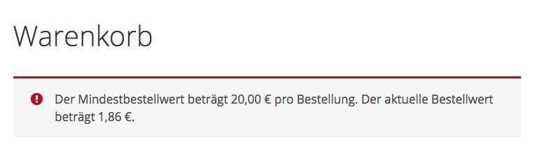 Screenshot: Meldung in der Kassenansicht bei zu geringem Bestellwert.